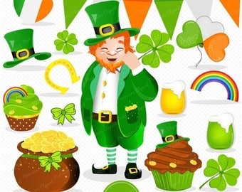 80% OFF SALE St Patricks day clipart, Leprechaun clip art, St Patrick graphics, Leprechaun digital image, Irish clipart - CA338