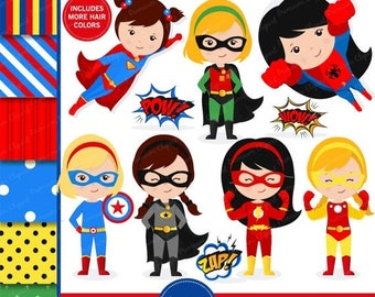 80% OFF SALE Superhero clipart, supergirl clipart, superhero girl clipart, flash clipart, superhero costume, superheroes - CL128