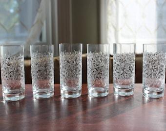 Etched Vintage Shot or Cordial Glasses