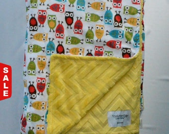 Sale 25%OFF- Colorful owls blanket, Baby/Toddler/Teen Minky Blanket.