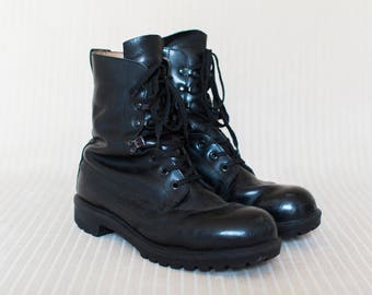 British Army Mens Boots in Black Leather, Combat Boots, Military Boots, Grunge Metal Boots - Medium Signs of Wear