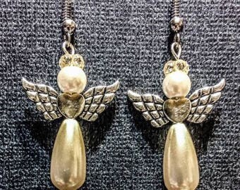 Angel Earrings made with Pearls & a Swarovski Crystal Halo