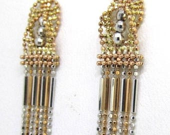 14k Gold Tri-Color Drop Dangle Earrings 2.9 Grams