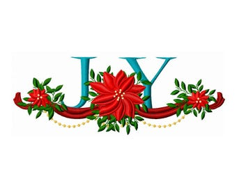 Poinsettia Embroidery Design - Joy Embroidery Design - Winter Embroidery Design - Christmas Embroidery Design - Holiday Embroidery Design