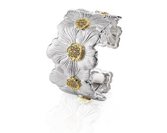 "Buccellati ""Blossoms Gardenia"" Cuff Bracelet with Brown Daimond, Sterling Silver with Gold Accents"