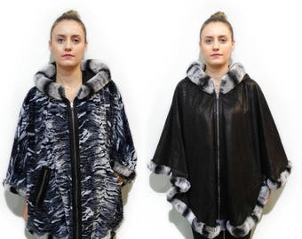 Double Faced Leather Poncho Cape F716