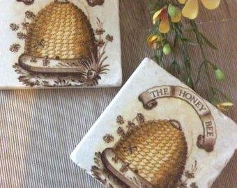 Set Of 2 Marble Coasters Honey Bee Beehive Gifts