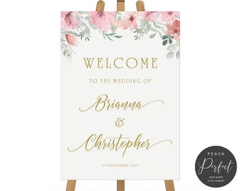 Wedding Welcome Sign, Gold and Pink Flowers, Floral Wedding Poster, Free Colour Changes, DIY Printable Digital File, Brianna Suite
