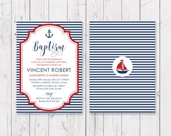 Boy and Red Blue Christening or Baptism Invitation, Nautical Sailor Anchor Design, Professionally Printed, Double Sided | Peach Perfect