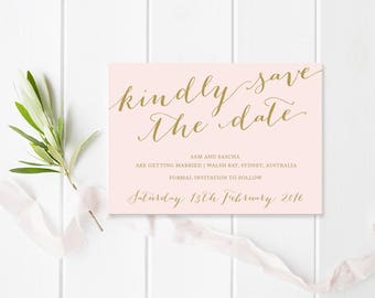 Blush Pink, Cream and Gold Wedding Save the Date card, Beautiful Script Font, Monogram, Commercially Printed - Peach Perfect Australia