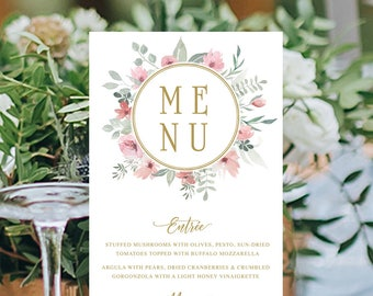 Wedding Menu, Custom Printable Menu, Watercolour Floral, Pink and Gold, Free Colour Changes, DIY Wedding, Print Your Own, Brianna Suite