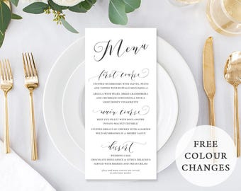 Wedding Menu, Custom Printable Menu, Charcoal and White, Free Colour Changes, Corporate Menu, DIY Wedding, Print Your Own, Heavenly Script