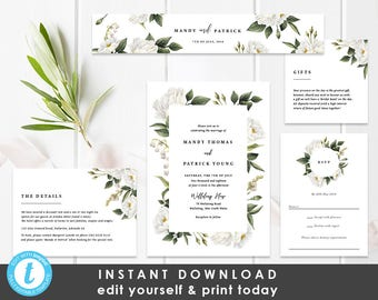 White Floral Wedding Invitation Suite, Instant Download, Invitation Template, Editable Wedding Invite, Mandy
