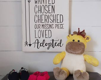 Adoption gift, adoption sign, adoption day, nursery sign, adoption day, adoption announcement, love makes a family, handpainted sign, wood