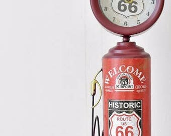 GAS PUMP Route 66 clock gasoline model handmade metal vintage replica