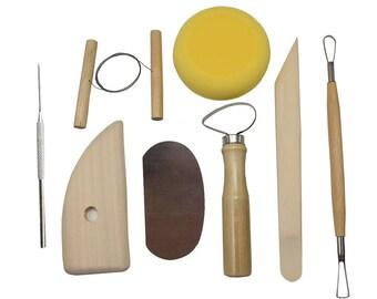 8Pcs Multifunction Wood and Steel Pottery Tool Set Ceramic Modeling Kit(CTJZ21-CLAYTOOL-8PCS)