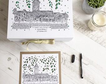Wedding Keepsake Box. Wedding Illustration. Guestbook Cover. Hand Illustrated. Wedding Venue. Memory Box & Matching Illustration.