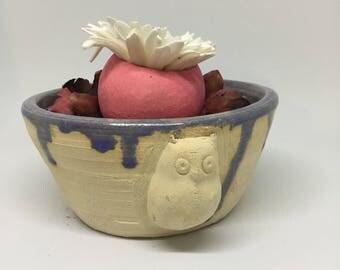 Cute ceramic bowl.  Drip glaze decoration.  Handmade.