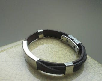 J. J's collection; Leather Bracelet with Silver accents