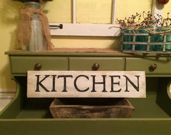 Distressed White Kitchen Sign, farmhouse sign