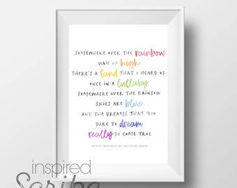 Somewhere Over the Rainbow lyrics from The Wizard of Oz LUXE ART PRINT