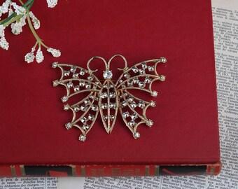 Vintage butterfly BROOCH - White rhinestone brooch