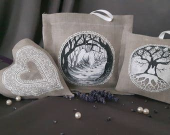 Linen hand painted christening gift, linen sachets,  (organic dried lavender inside)