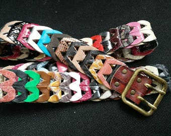 "Handmade Genuine Leather belt - 1.25"" wide,  Multi Color Genuine Leather Belt, Solid Brass Buckle, belts for women,multi color belt,boho"
