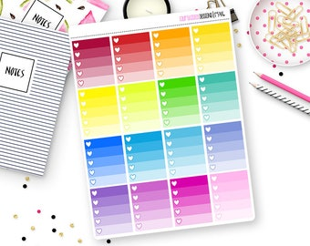 Custom Ombre Heart Check Box Stickers for Erin Condren Life Planner, Plum Paper or Mambi Happy Planners