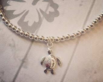 Sterling Silver Anklet/Ankle Bracelet with Sterling Silver Turtle Charm, Beach Jewellery, Surf Style, Boho Anklet, Sterling Silver Turtle