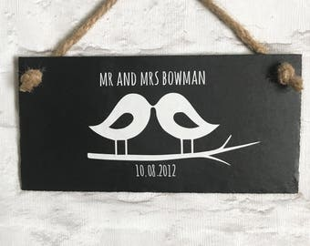 Personalised wedding gift. Mr Mrs sign, Personalized wedding, Slate sign,  Mr and Mrs  , Wedding  gift,  Wedding present , Lovebirds