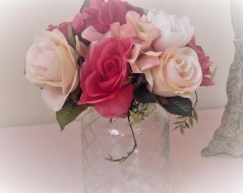 Pink wedding centerpiece, pink silk flower arrangement, wedding centerpiece