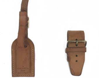 SOLD~Louis Vuitton Vachetta leather Luggage Tag with Piognt set