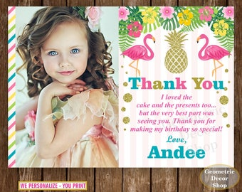 Flamingo Thank You Card - Pineapple Birthday Thank You Card / Pink Gold / Girl Birthday Party Photo Photograph Luau Hawaiian / Pool /THFL1