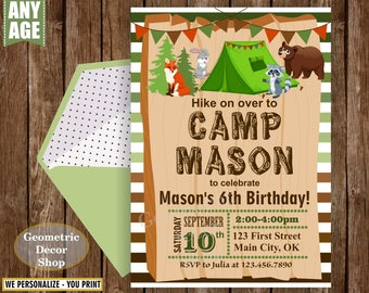 Camping Birthday Invitation, Boy Camping Invite, bear raccoon bunny fox Party Invite green orange brown wood woodland animals BDCamp1