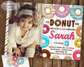 Donut Birthday Party Invitation doughnut Party Invitation girl birthday pink purple teal Digital PRINTABLE ANY AGE photo photograph BDonut1
