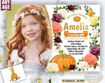 Pumpkin birthday invitation flowers any age fall burgundy rose wine blush florals invite 1st floral girl shabby chic photo gold BDPumpkin16