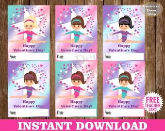 Instant Download / Gymnastic / Valentine Card / Valentines Card / Pink / Purple / Teal / Valentine's Day / Tags / teacher / Kids / VCard87