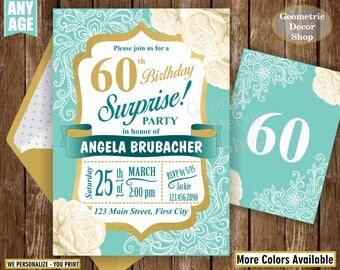 Birthday / invitation / adult / 30th / 40th / 50th / 60th / 70th / 80th / lace / floral / flowers / rose / gold / surprise / party /BDL1