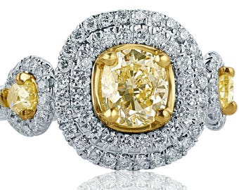 GIA Certified 1.84 Ct Cushion Cut Yellow VS2 Diamond Engagement Ring, Pear Shaped Side Diamonds, Halo Engagement Ring, 18k White Gold