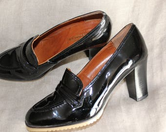 Shoes P 37 Black patent leather Stellani Vintage years 60-70's Retro heels