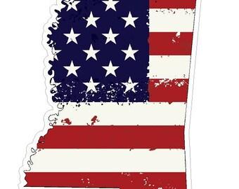 Mississippi State (J25) USA Flag Distressed Vinyl Decal Sticker Car/Truck Laptop/Netbook Window