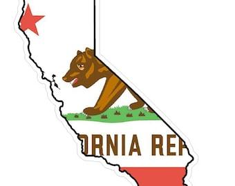 California State (Q7) Shape Flag Vinyl Decal Sticker Car/Truck Laptop/Netbook Window
