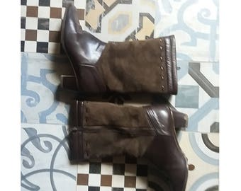 Vintage 80 leather and shearling boots EU 38