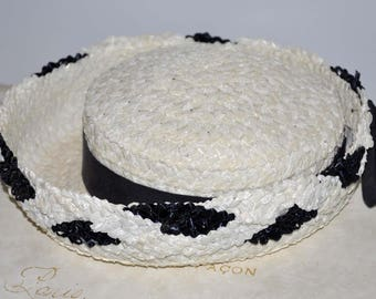 Vintage Blue and White Straw Hat, Navy Blue and White Hat, White Straw Hat, Women's Straw Hat, Women's Vintage Hat, White and Blue Straw Hat
