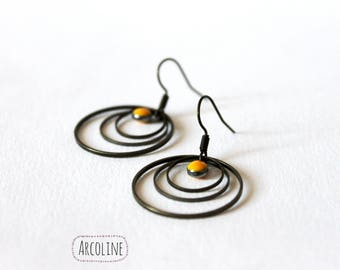 Earrings enameled Sequin yellow ° ° ° rings bronze