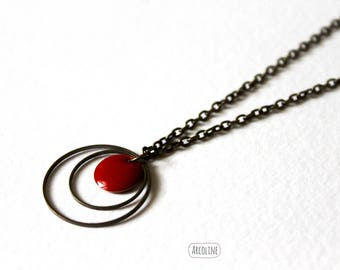 Enamelled Sequin Red rings necklace