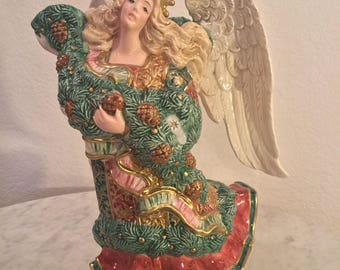 """Vintage Stunning Fitz & Floyd """"Damask Christmas"""" Angel Figurine Pitcher. Red, Green, White, Gold. 1.5 Qt. From 1995."""