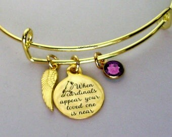 """GOLD"""" When Cardinals Appear Your Love One Is Near """"W/ Birthstone BANGLE - Missing A Love One - Gift Personalize  Gift For Her Usa G1"""