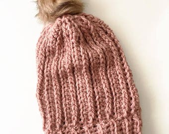 Crocheted Pom Slouch Hat / THE BLUSH BEANIE / Accessories / Knitwear / Pink